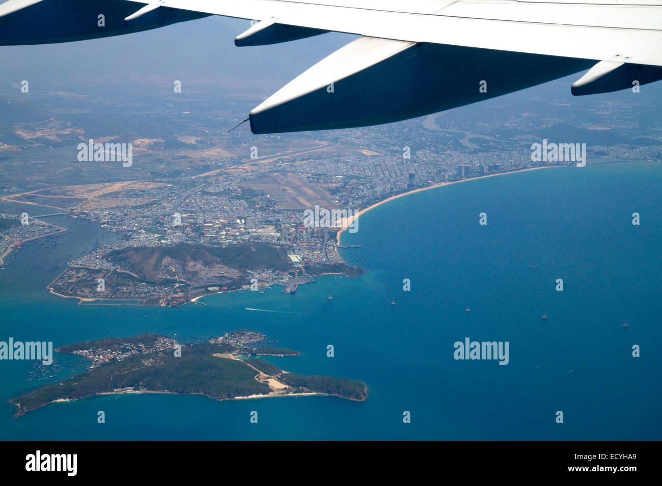 Aerial view of the South China Sea near Nha Trang, Vietnam. - Stock Image