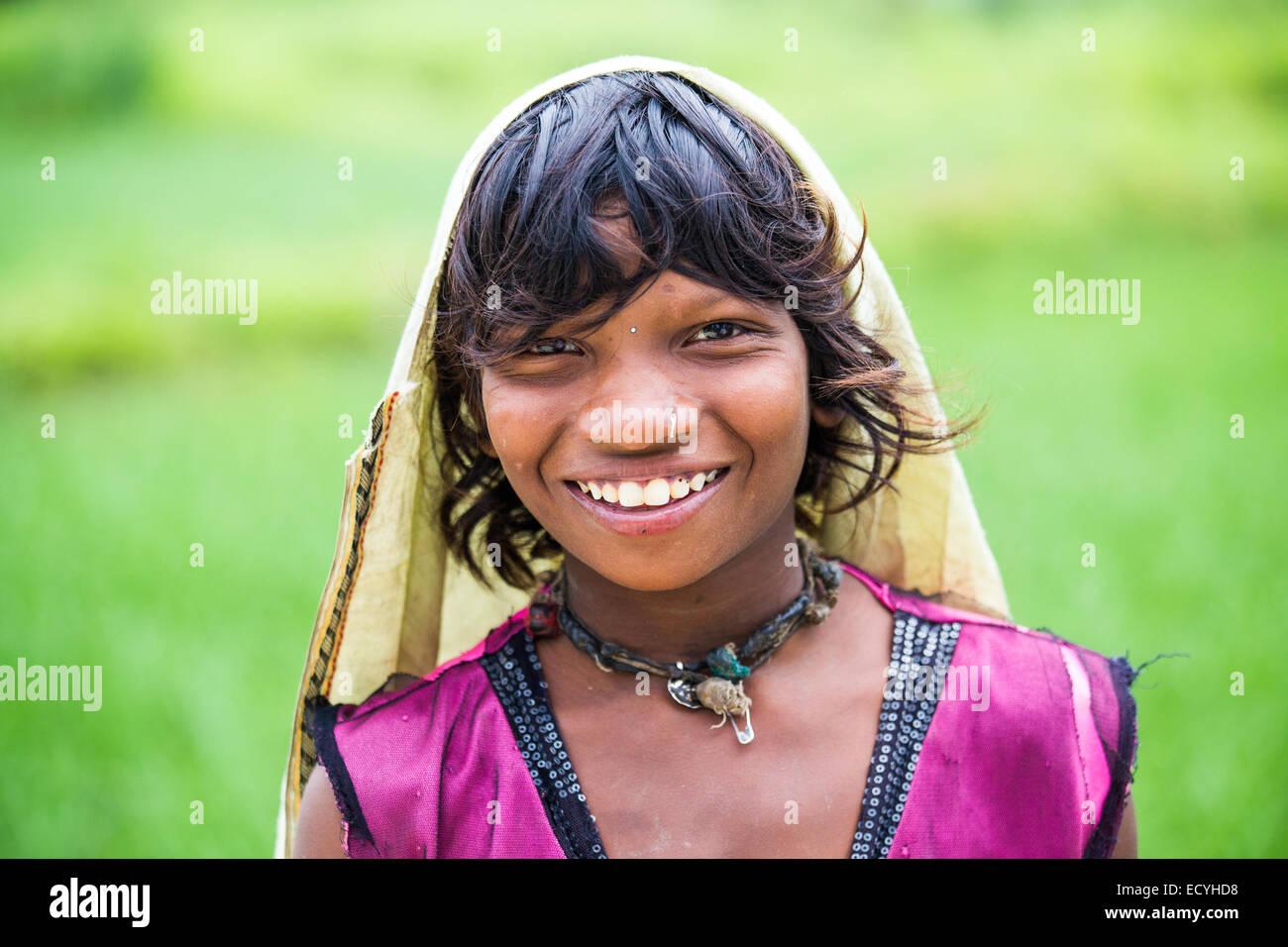 Indian girl near Bhopal in Madhya Pradesh, India - Stock Image