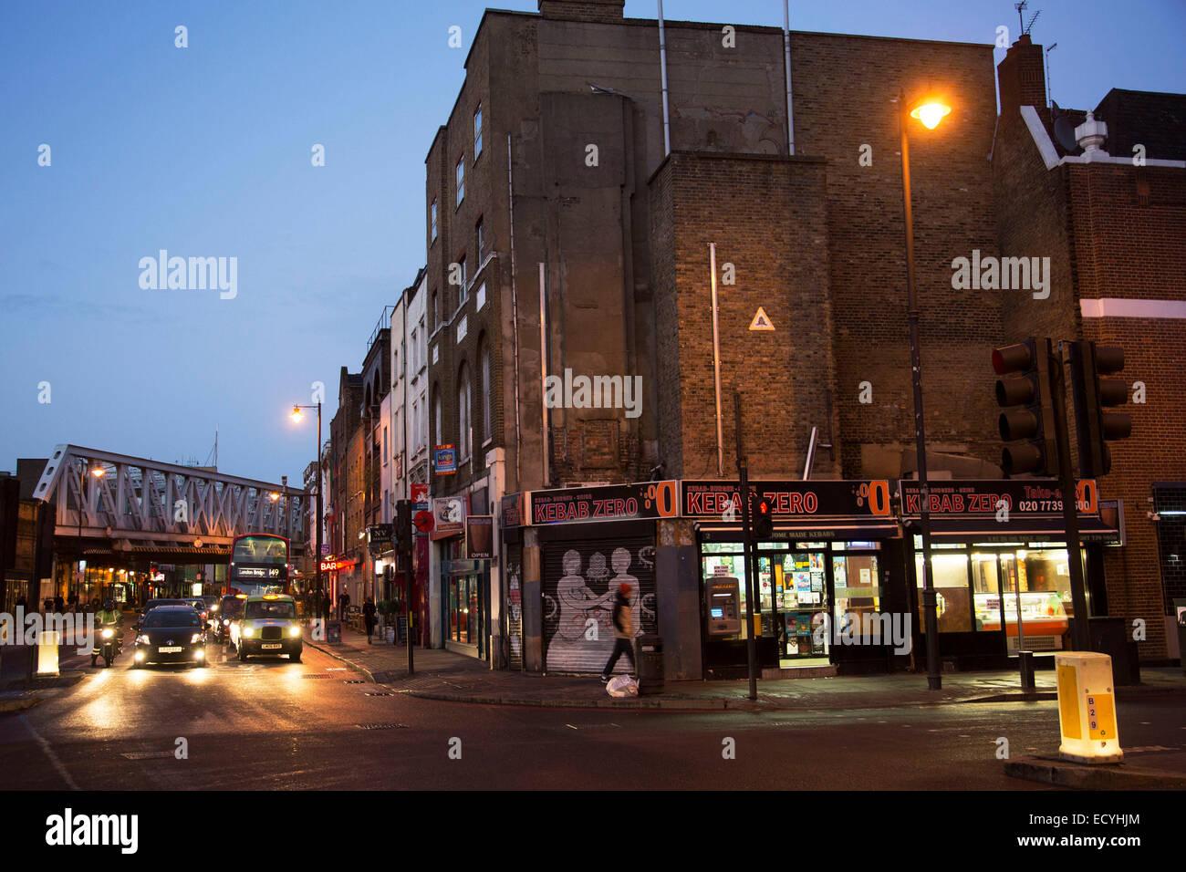 Kebab shop fast food restaurant on City Road in East London, UK. - Stock Image