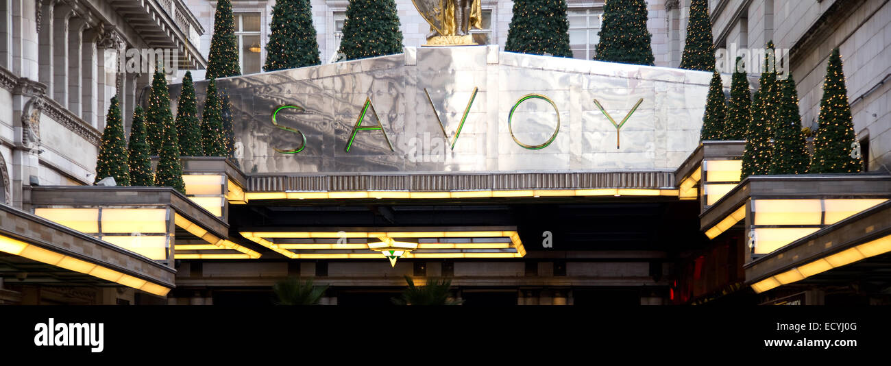 LONDON - DECEMBER 11TH: The exterior of the Savoy hotel on December the 11th, 2014, in London, England, UK. The - Stock Image