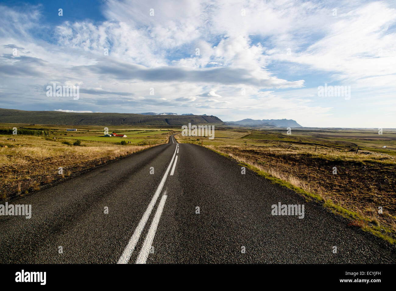 Country road in the inland of Iceland - Stock Image