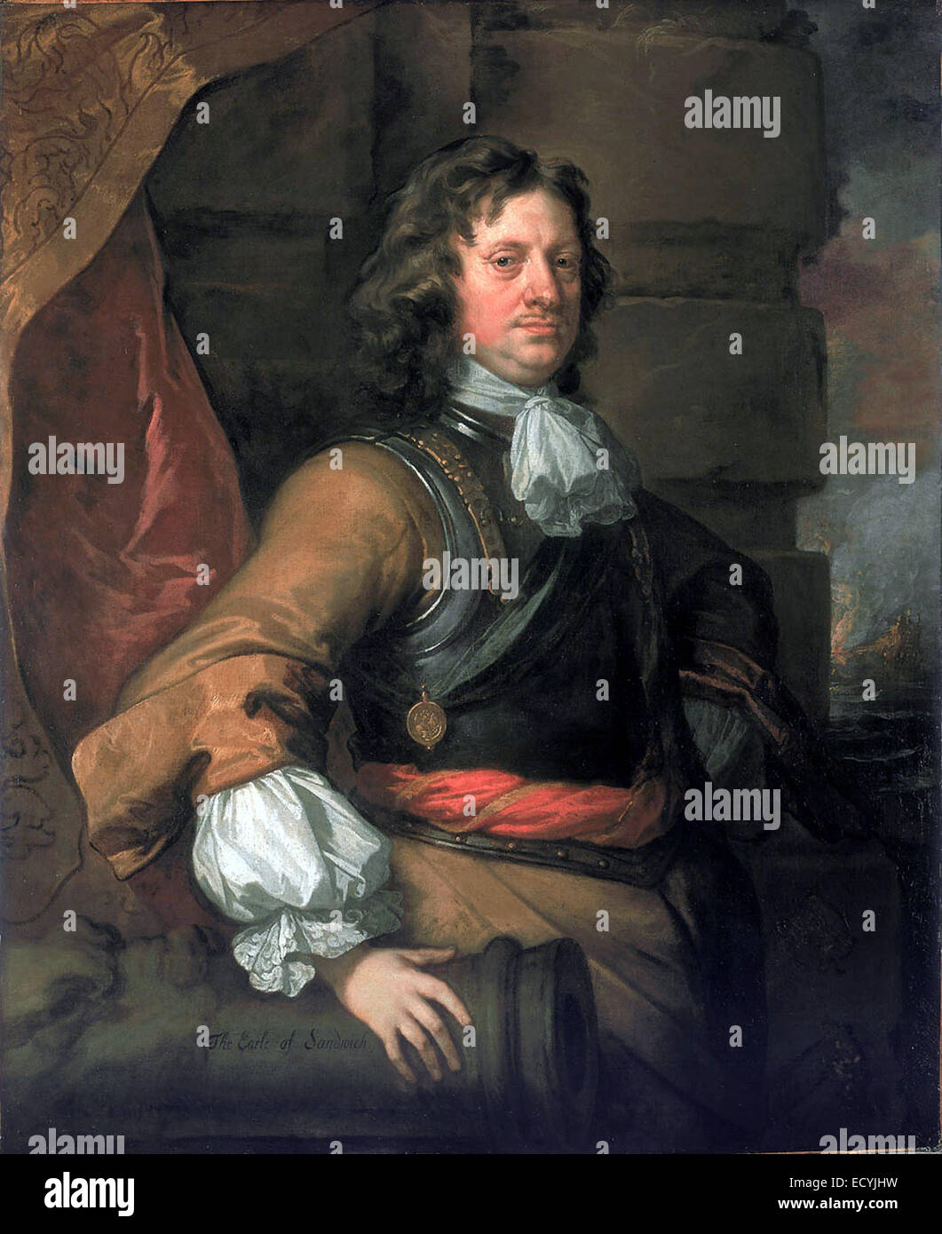 Edward Montagu (1625-1672), 1st Earl of Sandwich by Peter Lely - Stock Image