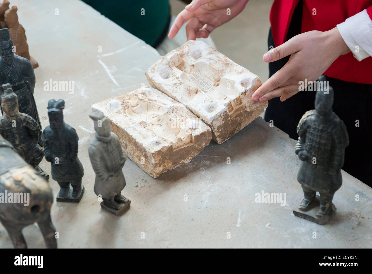 Terracotta warrior mold at the factory in Xi'an, China - Stock Image