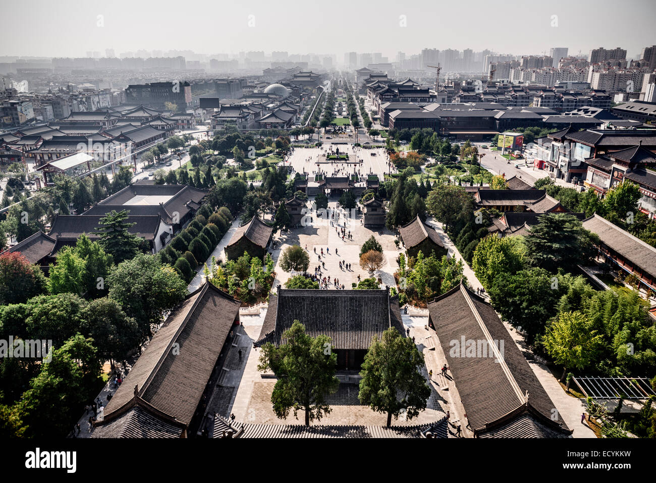 Xi'an aerial city view from Giant Wild Goose Pagoda. Xi'an, Shaanxi, China 2014 - Stock Image