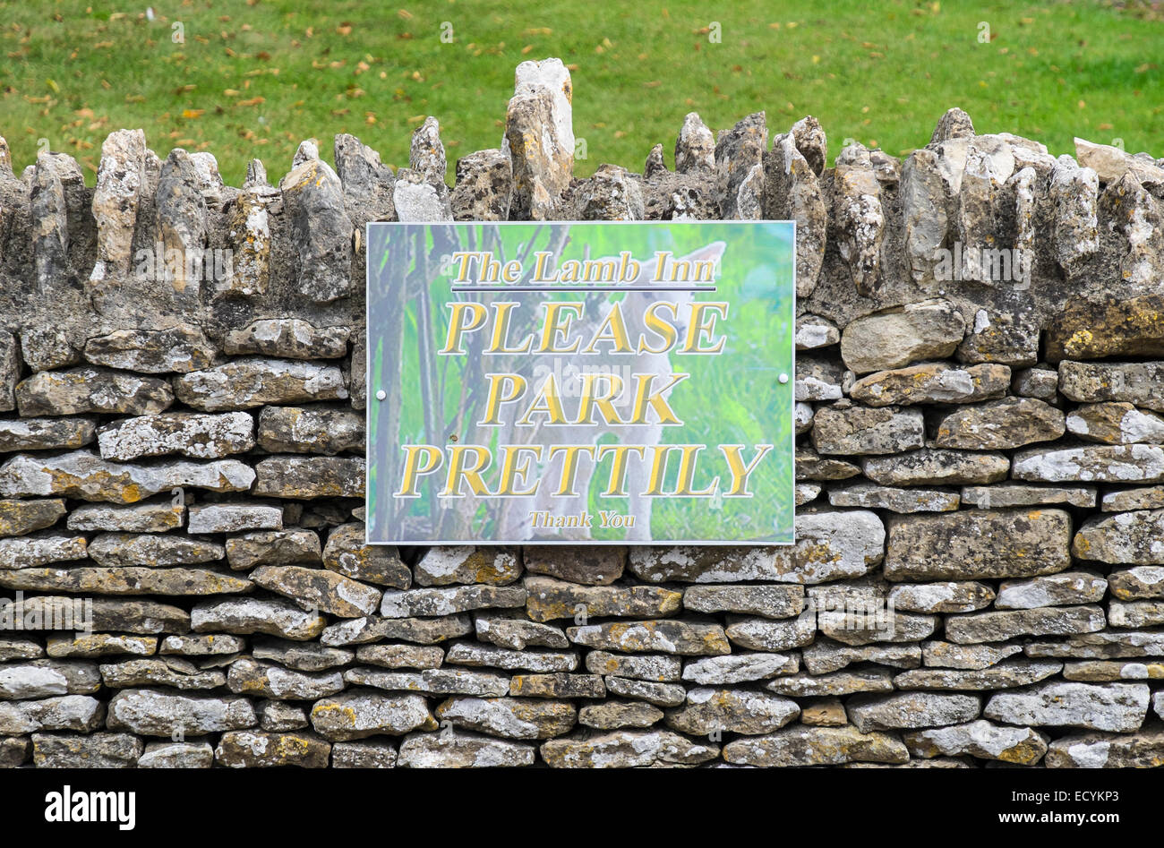 Parking sign the Lamb Inn car park Great Rissington The Cotswolds Gloucestershire England - Stock Image