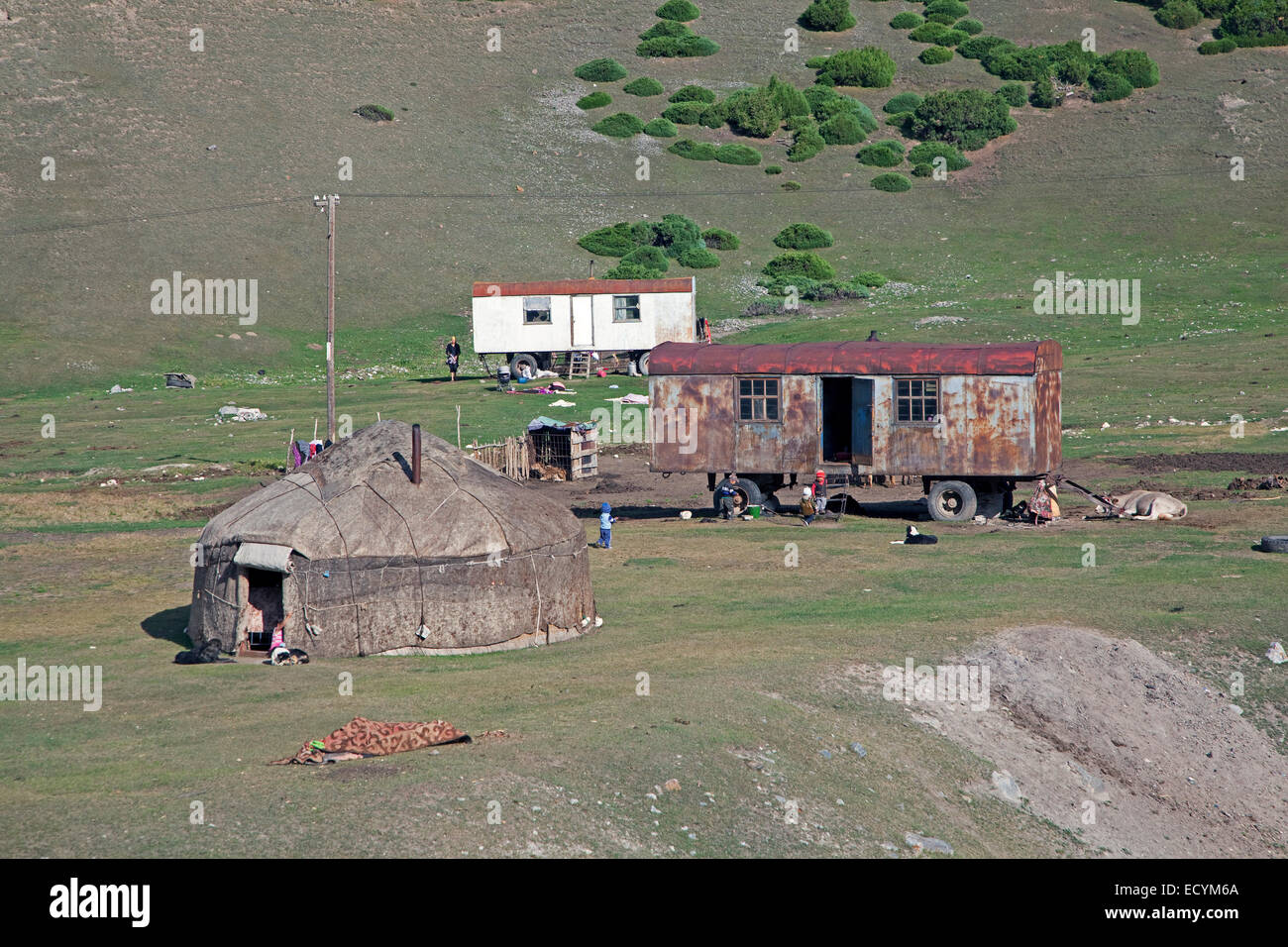 Kyrgyz yurt, temporary summer nomad dwelling in the Osh Province, Kyrgyzstan - Stock Image