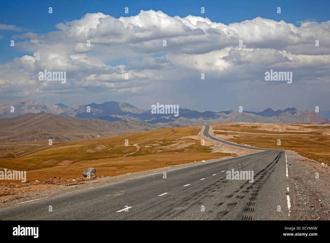 The Irkeshtam pass, border crossing between Kyrgyzstan and Xinjiang, China Stock Photo