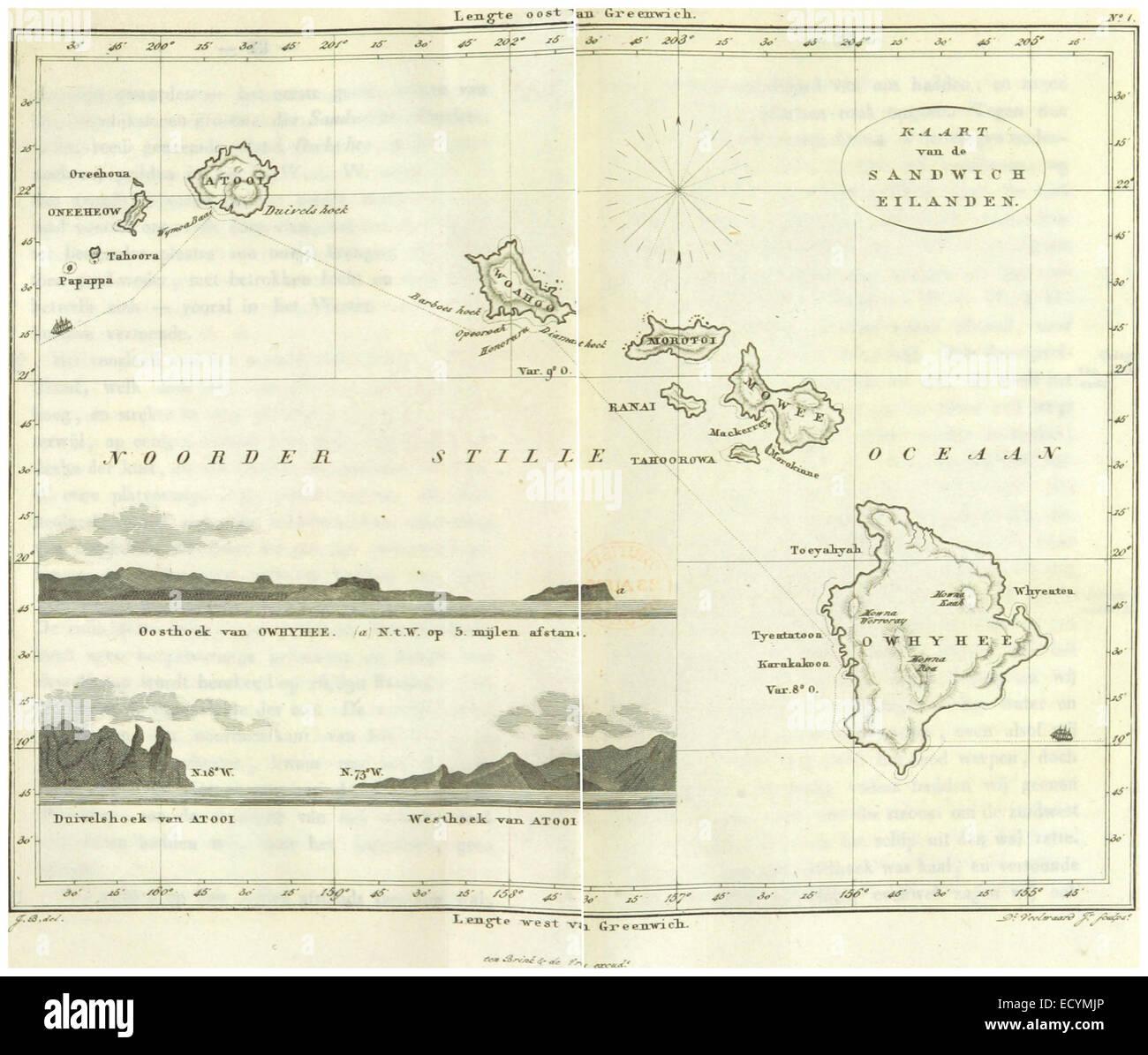 BOELEN(1836) T3 p042 KAARD VAN DE SANDWICH EILANDEN - Stock Image