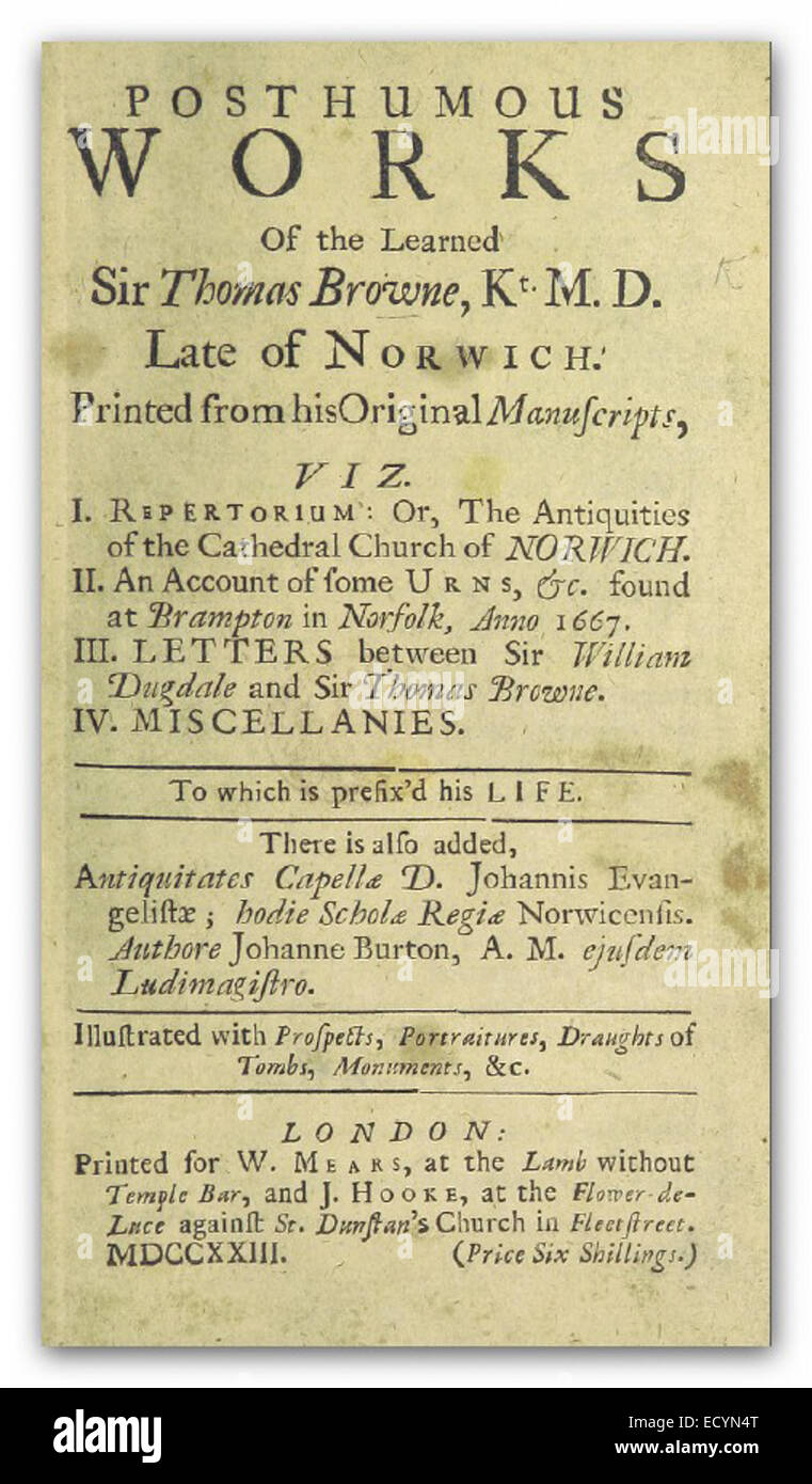 BROWNE(1723) Posthumous Works of the learned Sir Thomas Browne Stock Photo
