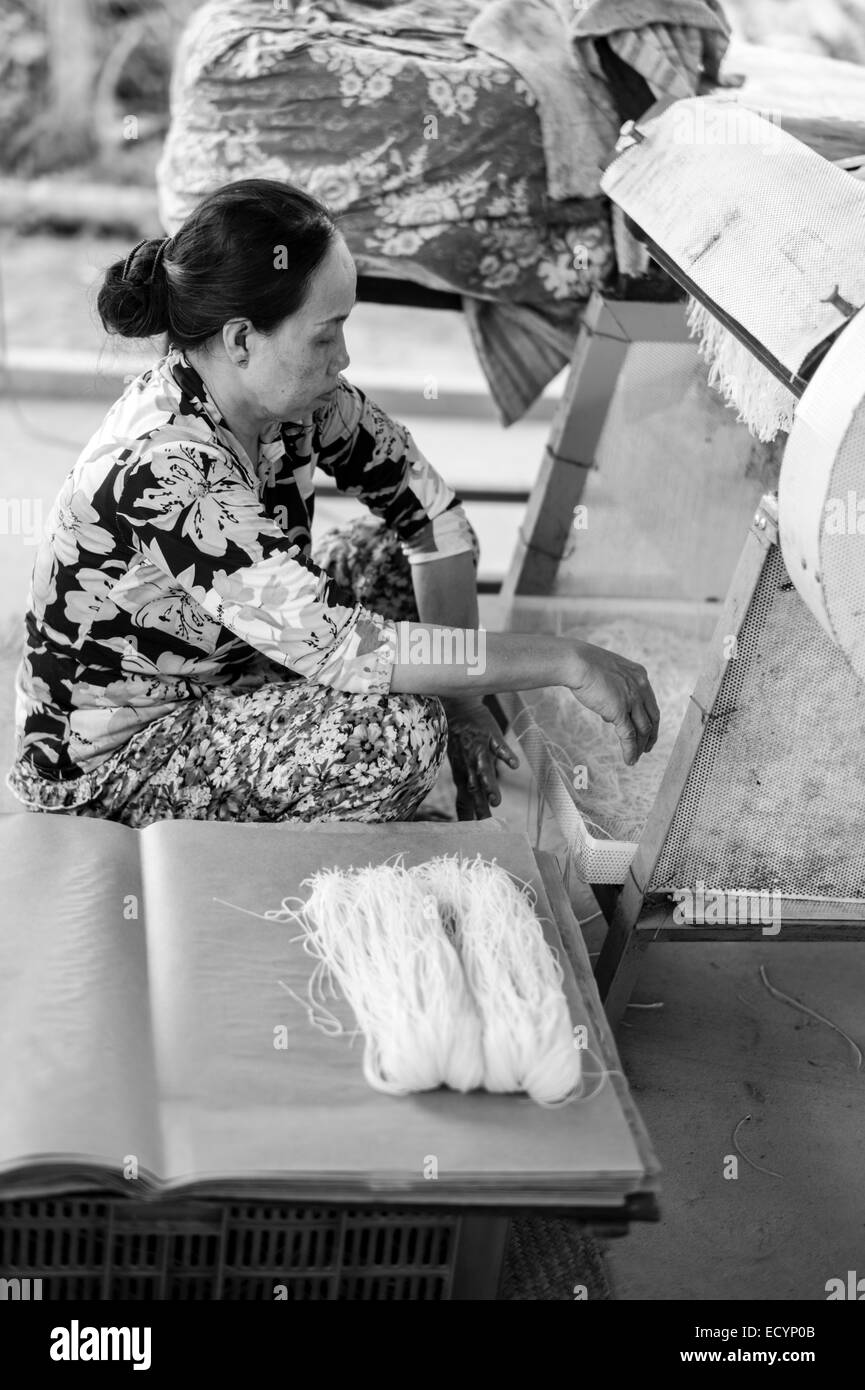 Vietnamese woman using a cutting machine to make rice noodles from the rice paper manufactured in her family's - Stock Image