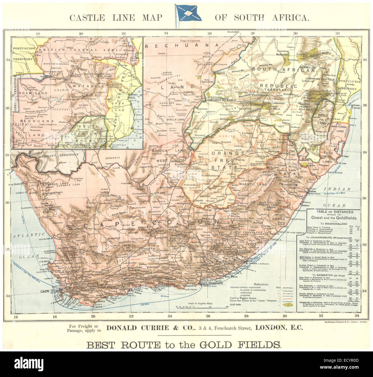Gold In South Africa Map.Castle Line Map Of South Africa Best Route To Gold Fields