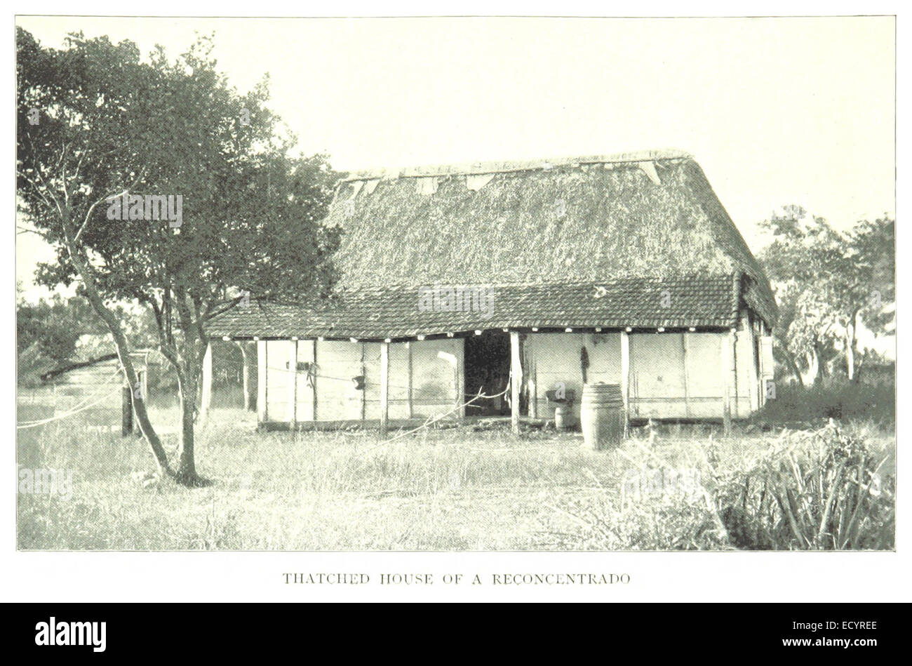 CLARK(1899) Cuba p309 - THATCHED HOUSE OF A RECONCENTRADO - Stock Image