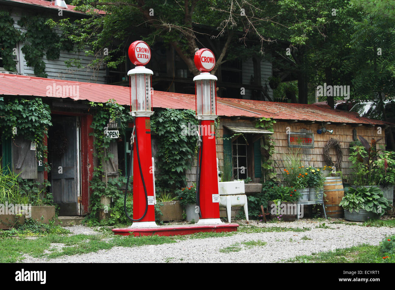 Gasoline Pumps outside the Old Stuff Antique store. Gasoline pumps are identified as Benkin Pumps. Rabbit Hash, - Stock Image