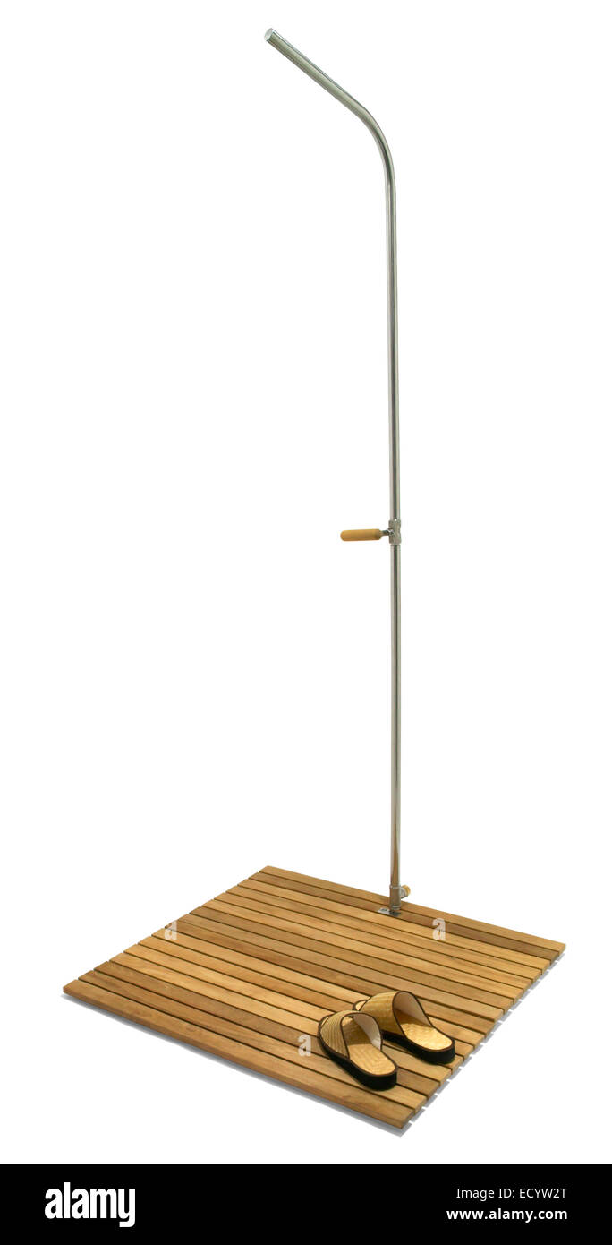Stand Alone Outdoor Shower With A Bamboo Base Stock Photo 76829728