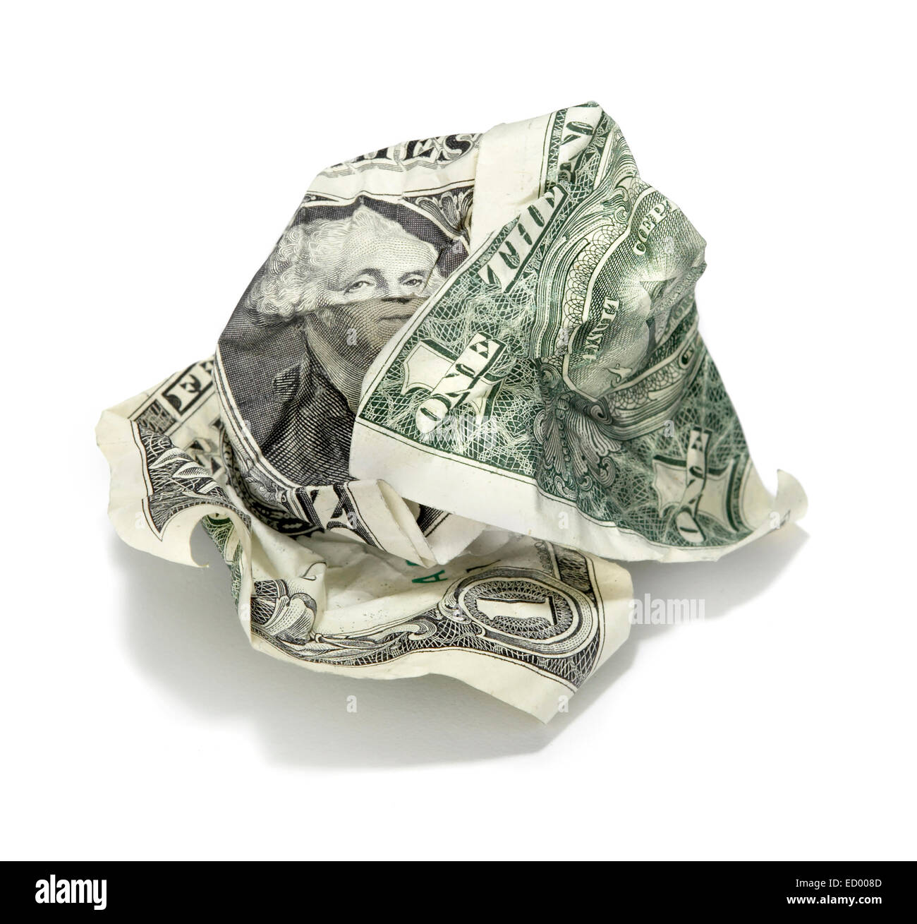 wadded dollar bill photographed on a white background - Stock Image