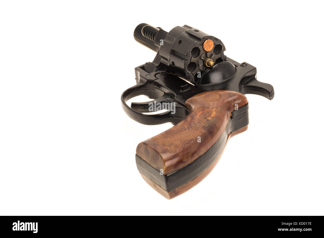 A handgun with one bullet - studio shot with a white background - Stock Image