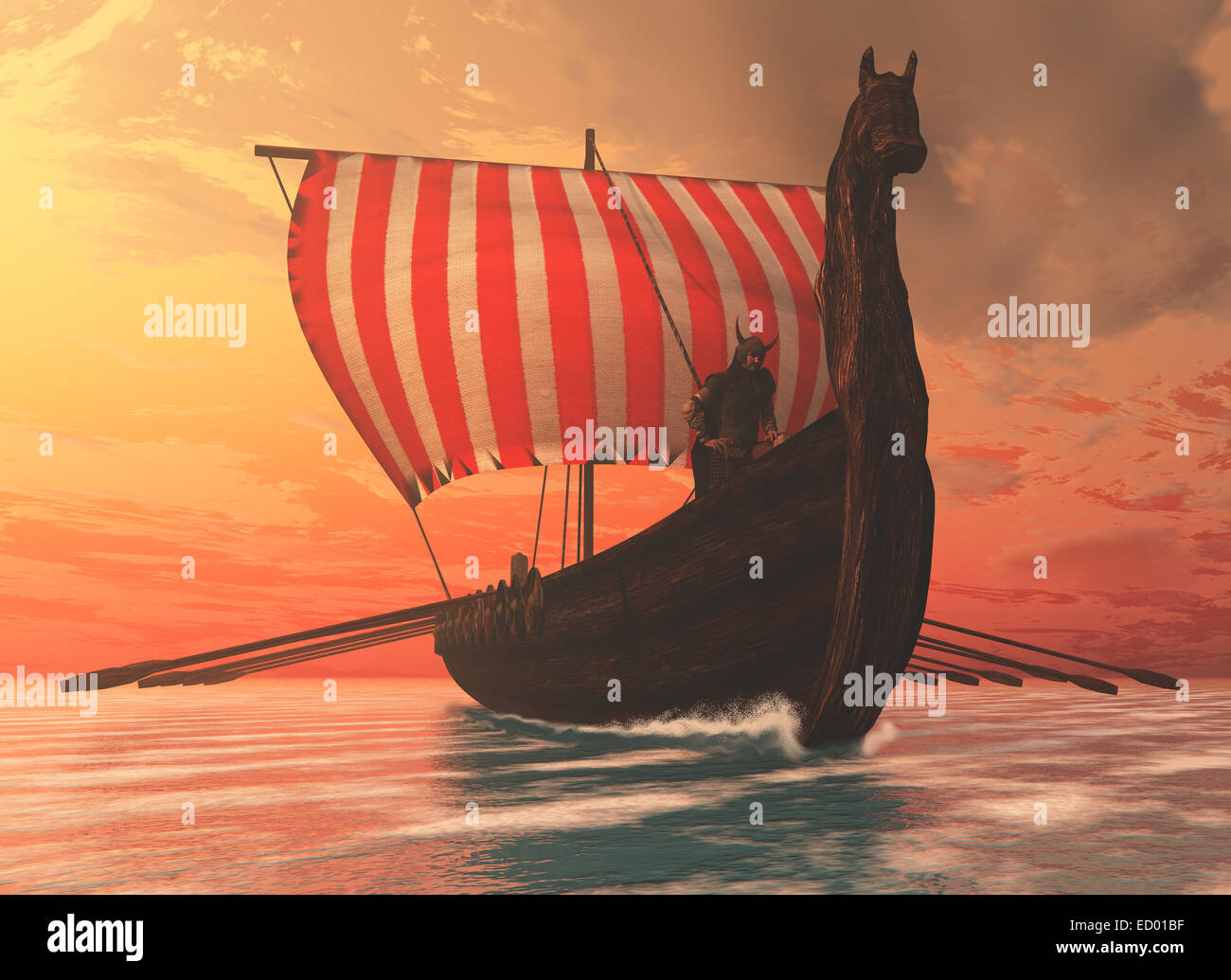 A Viking longboat sails to new shores for trading and companionship. - Stock Image