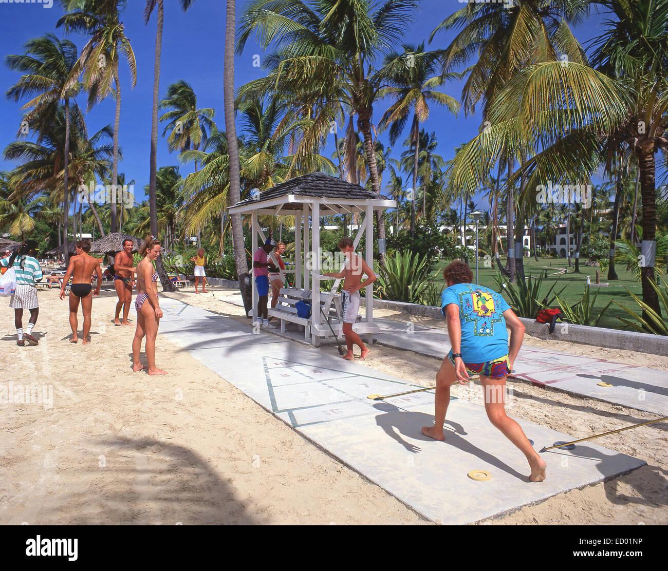 Beach shuttle game, Jolly Beach Resort & Spa, Saint Mary's Parish, Antigua, Antigua and Barbuda, Lesser Antilles, - Stock Image