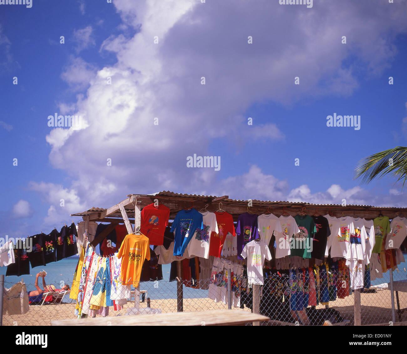 Beach clothing stall, Jolly Beach Resort & Spa, Saint Mary's Parish, Antigua, Antigua and Barbuda, Lesser Antilles, - Stock Image