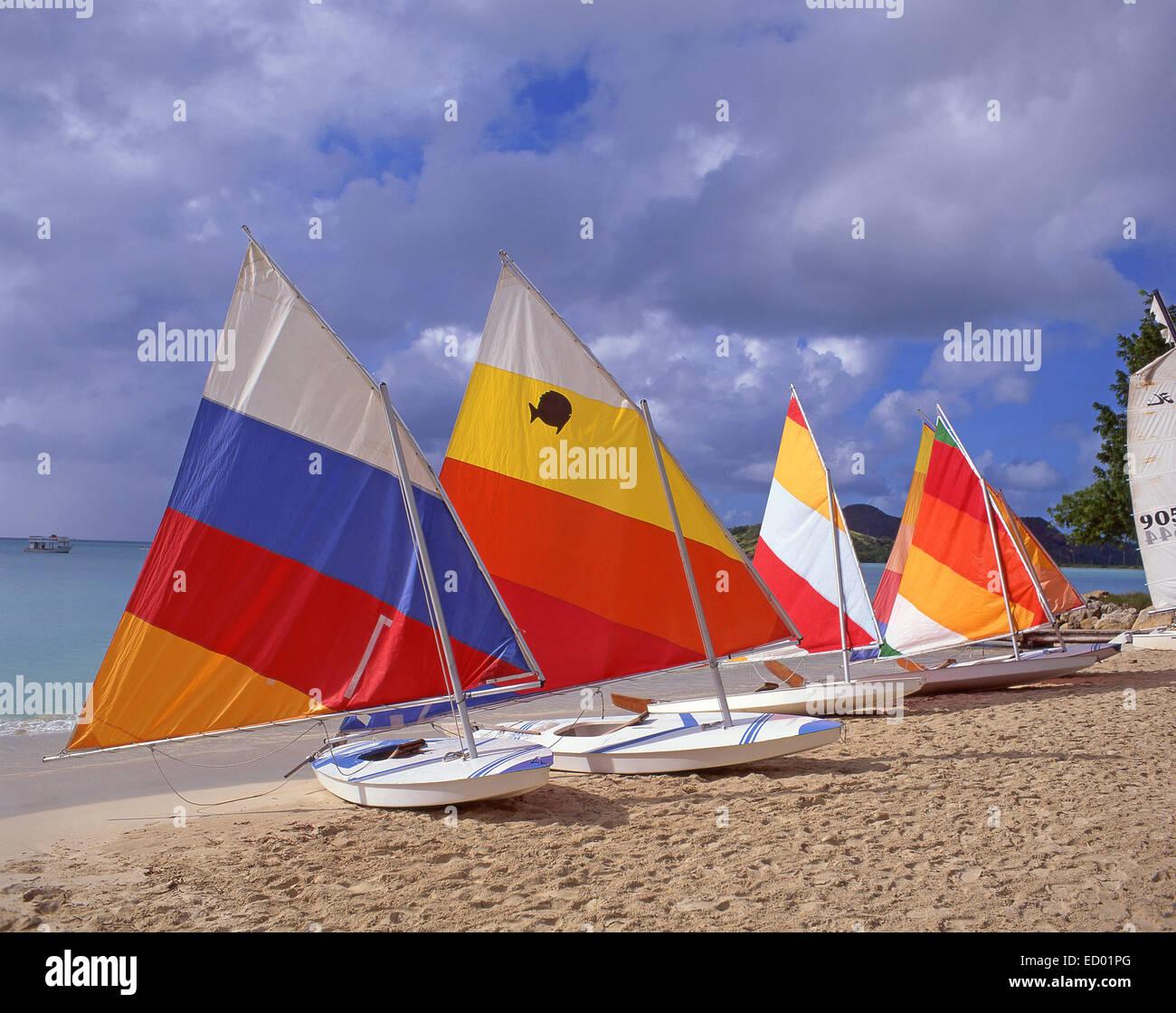 Sunfish sailboats, Jolly Beach Resort & Spa, Saint Mary's Parish, Antigua, Antigua and Barbuda, Lesser Antilles, - Stock Image