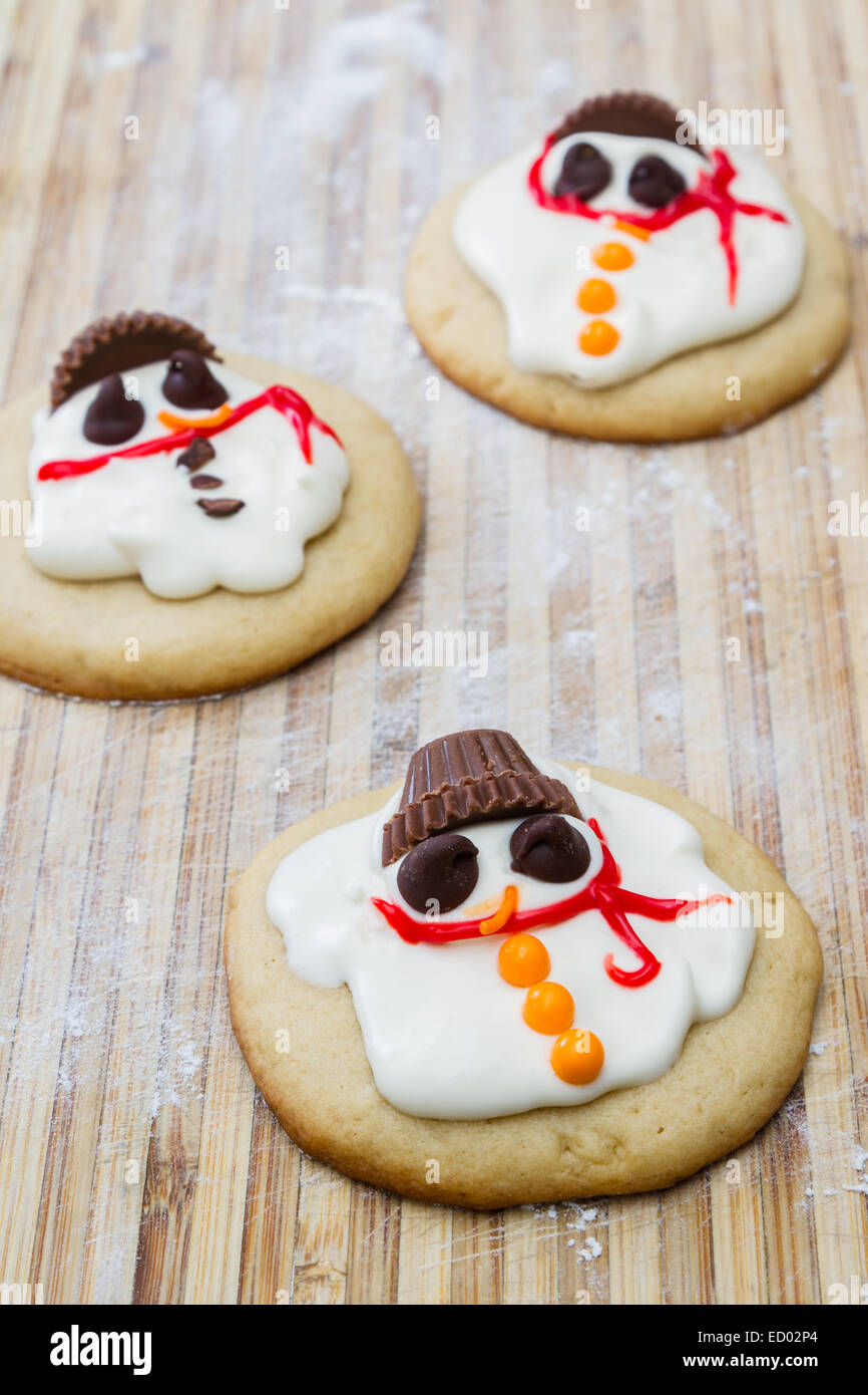 Holiday Cookies With A Melted Snowman For A Fun Seasonal Concept