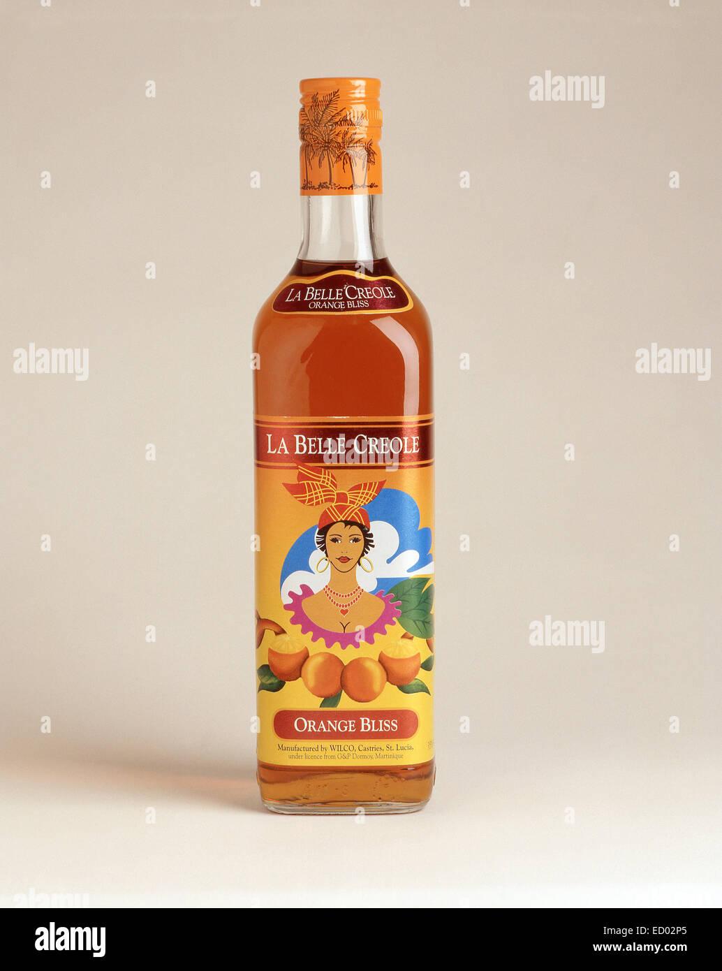 La Belle Creole Orange Bliss rum liqueur, Saint Lucia, Lesser Antilles, Caribbean - Stock Image