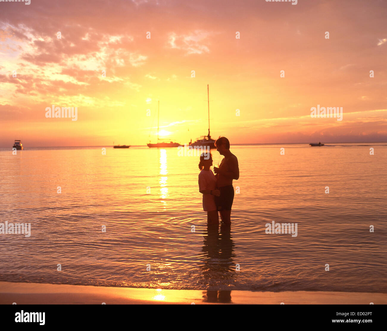 Couple In Sea At Sunset, Negril Beach, Negril