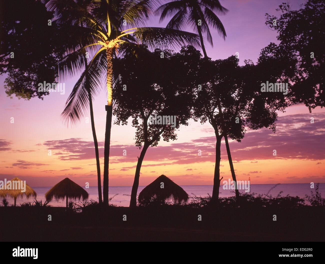 Beach sunset, Couples Negril Resort, Negril Beach, Negril, Westmoreland Parish, Jamaica, Greater Antilles, Caribbean Stock Photo