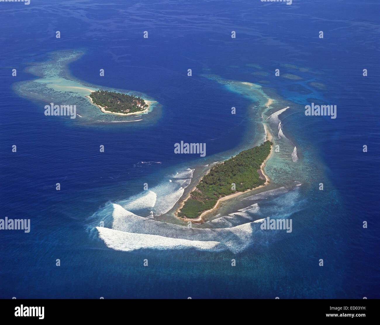 Aerial view of Islands, Kaafu Atoll, Republic of Maldives - Stock Image