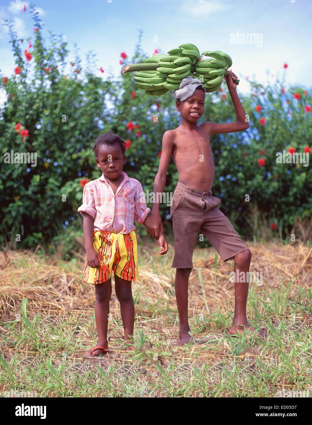 Young boy carrying bunch of bananas, Ocho Ríos, Saint Ann Parish, Jamaica, Greater Antilles, Caribbean - Stock Image