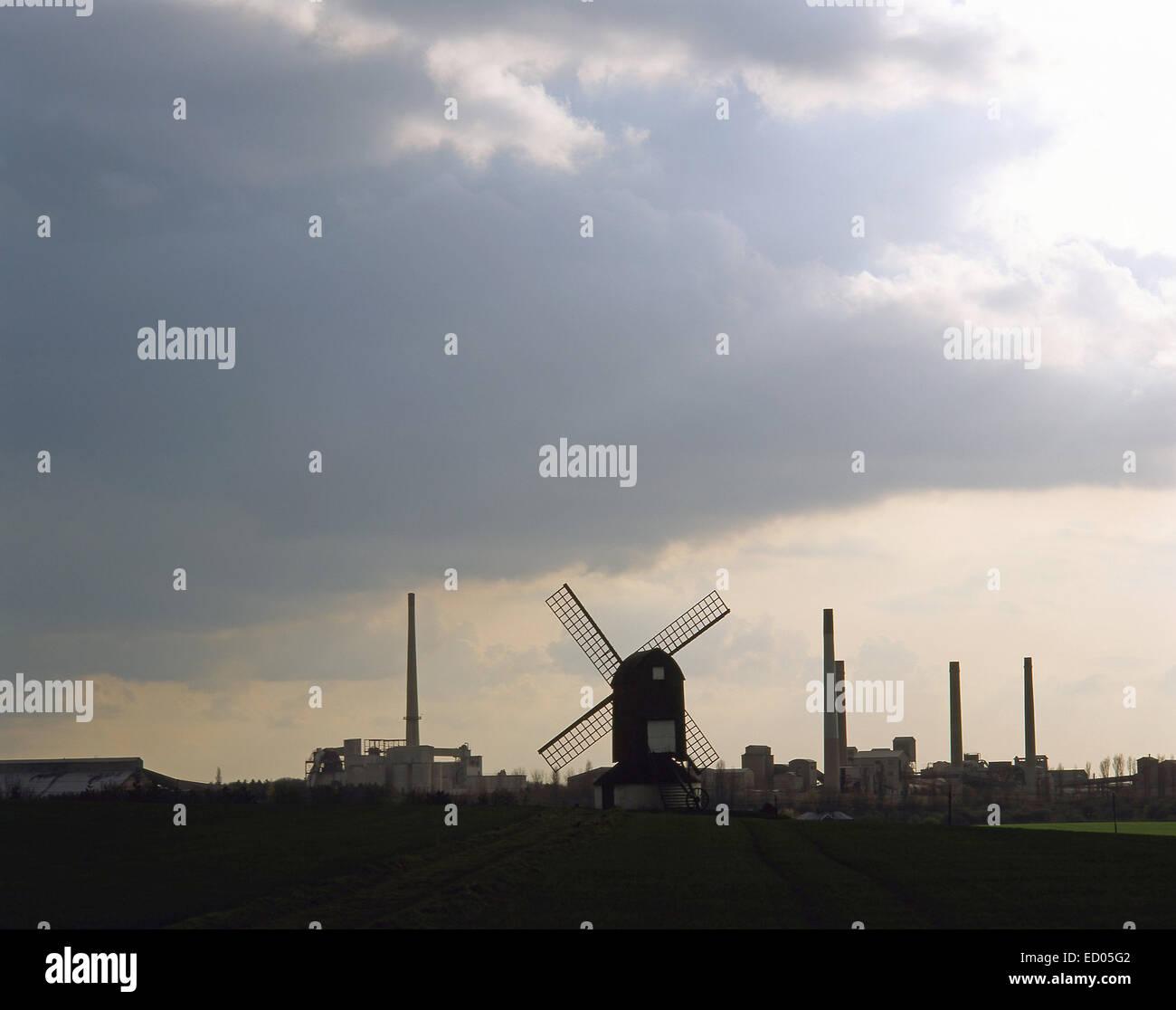 Pitstone Windmill and cement works, Pitstone, Buckinghamshire, England, United Kingdom - Stock Image