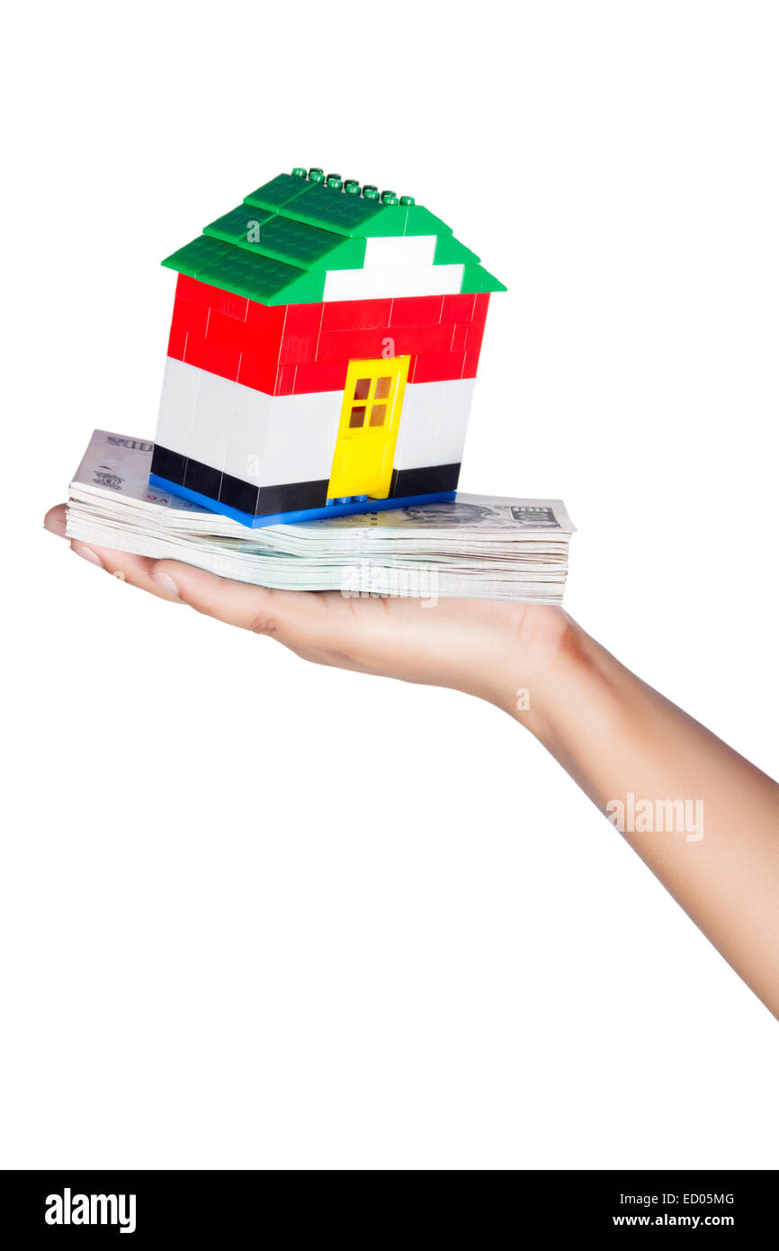 1 Lady hand  house saving Money part of - Stock Image