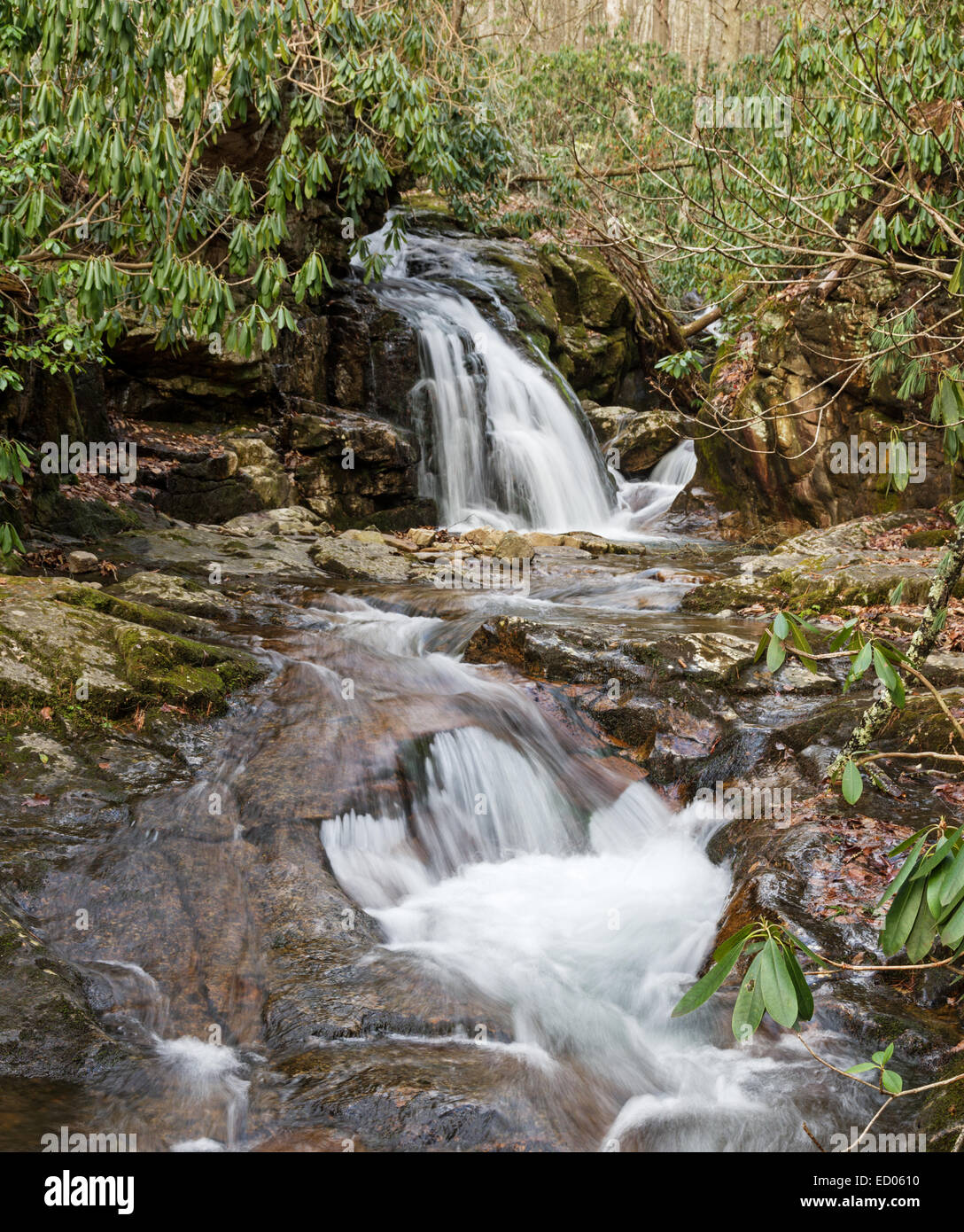 waterfall in Stoney Creek at blue hole in Tennessee with long exposure - Stock Image