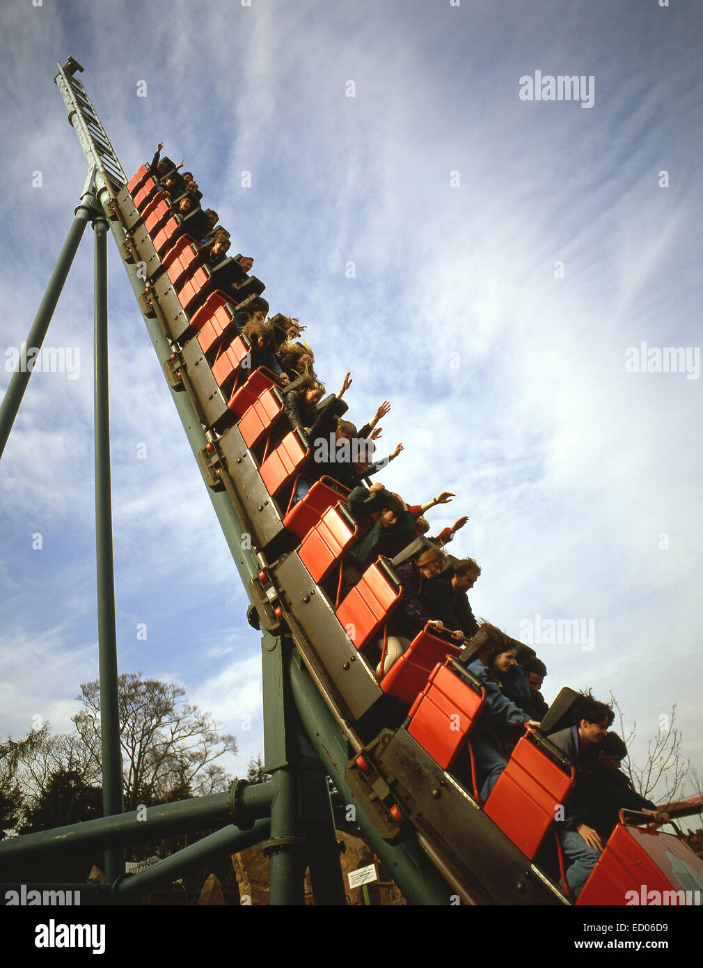 'Thunder Looper' rollercoaster ride at Alton Towers Theme Park, Alton, Staffordshire, England, United Kingdom - Stock Image