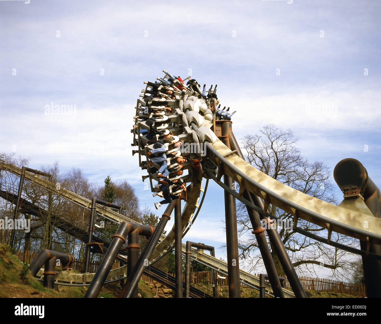 Nemesis' rollercoaster ride at Alton Towers Theme Park, Alton, Staffordshire, England, United Kingdom - Stock Image