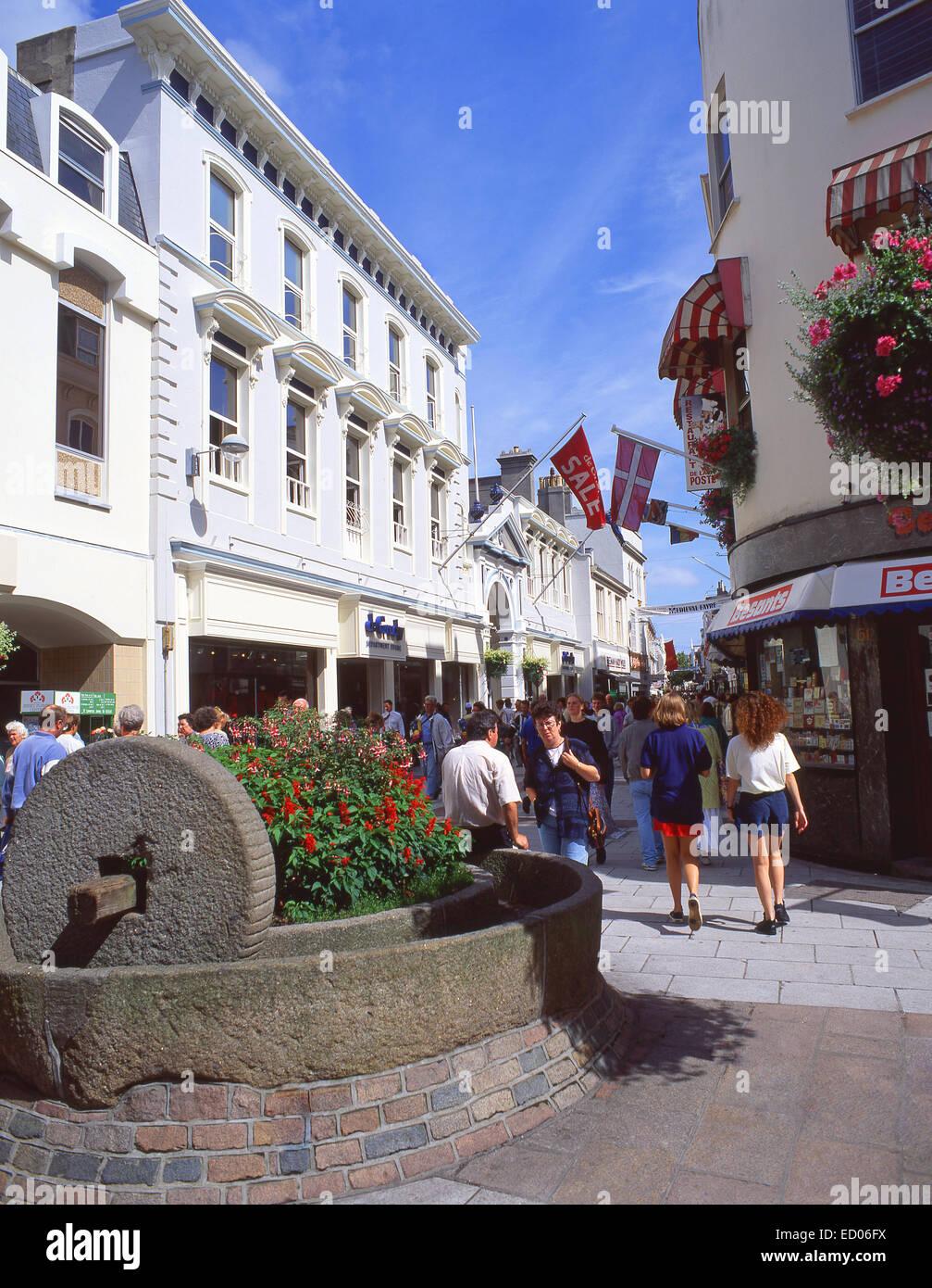 Pedestrianised King Street, St Helier, Saint Helier Parish, Jersey, Channel Islands - Stock Image