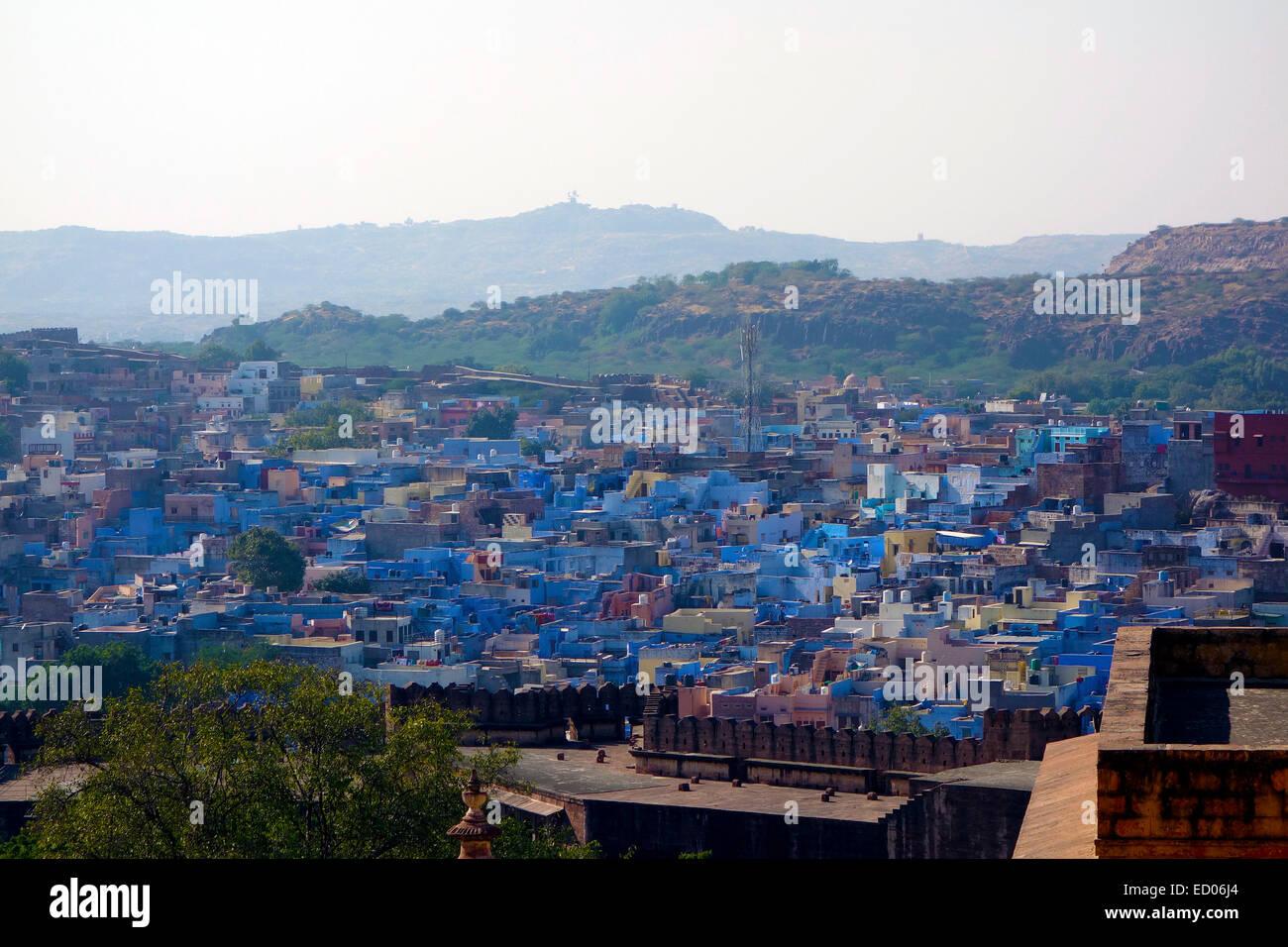Jodhpur,Blue City,Clustered Houses,Rajasthan,India - Stock Image