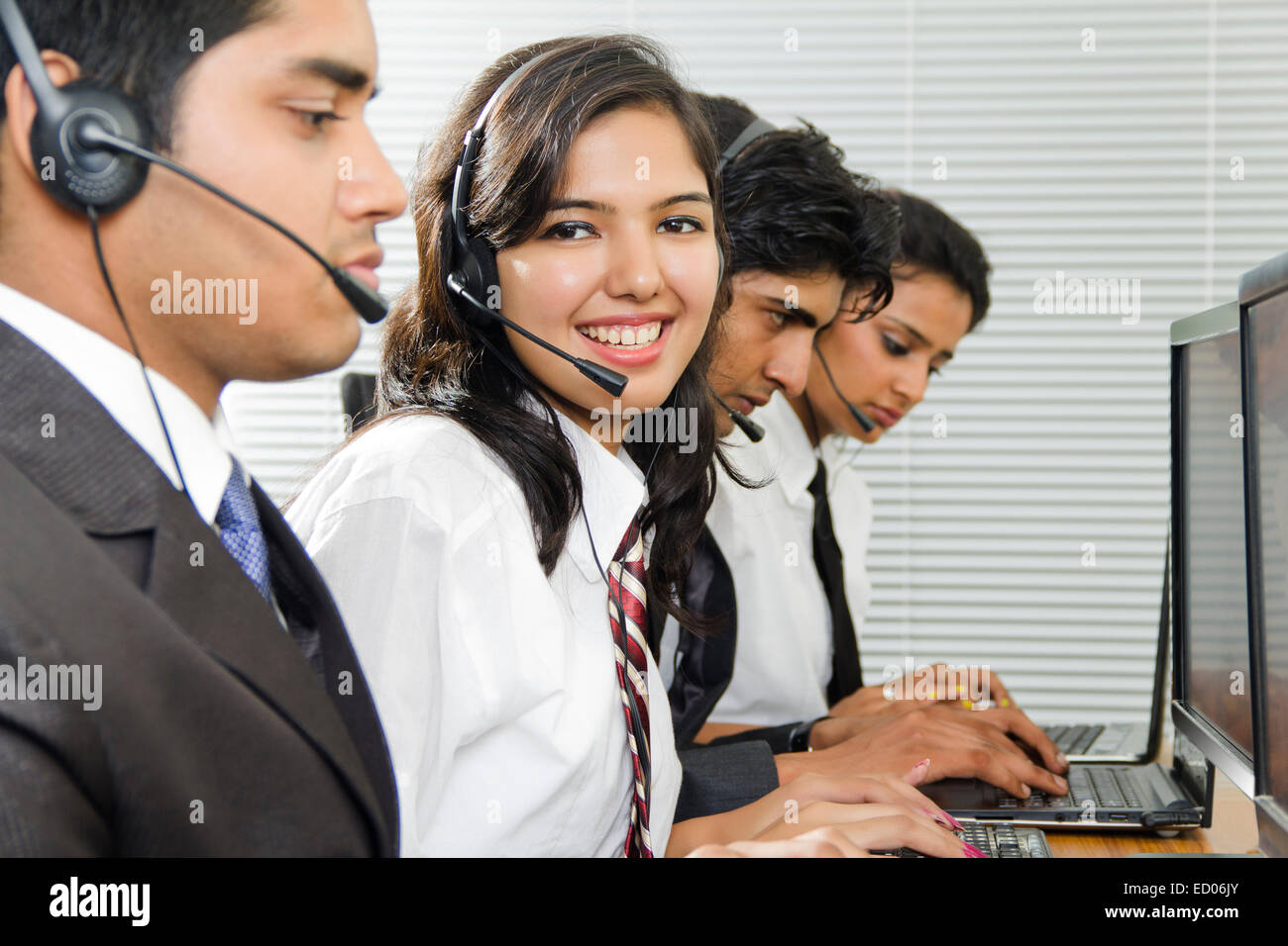 indian Telecaller Office working - Stock Image
