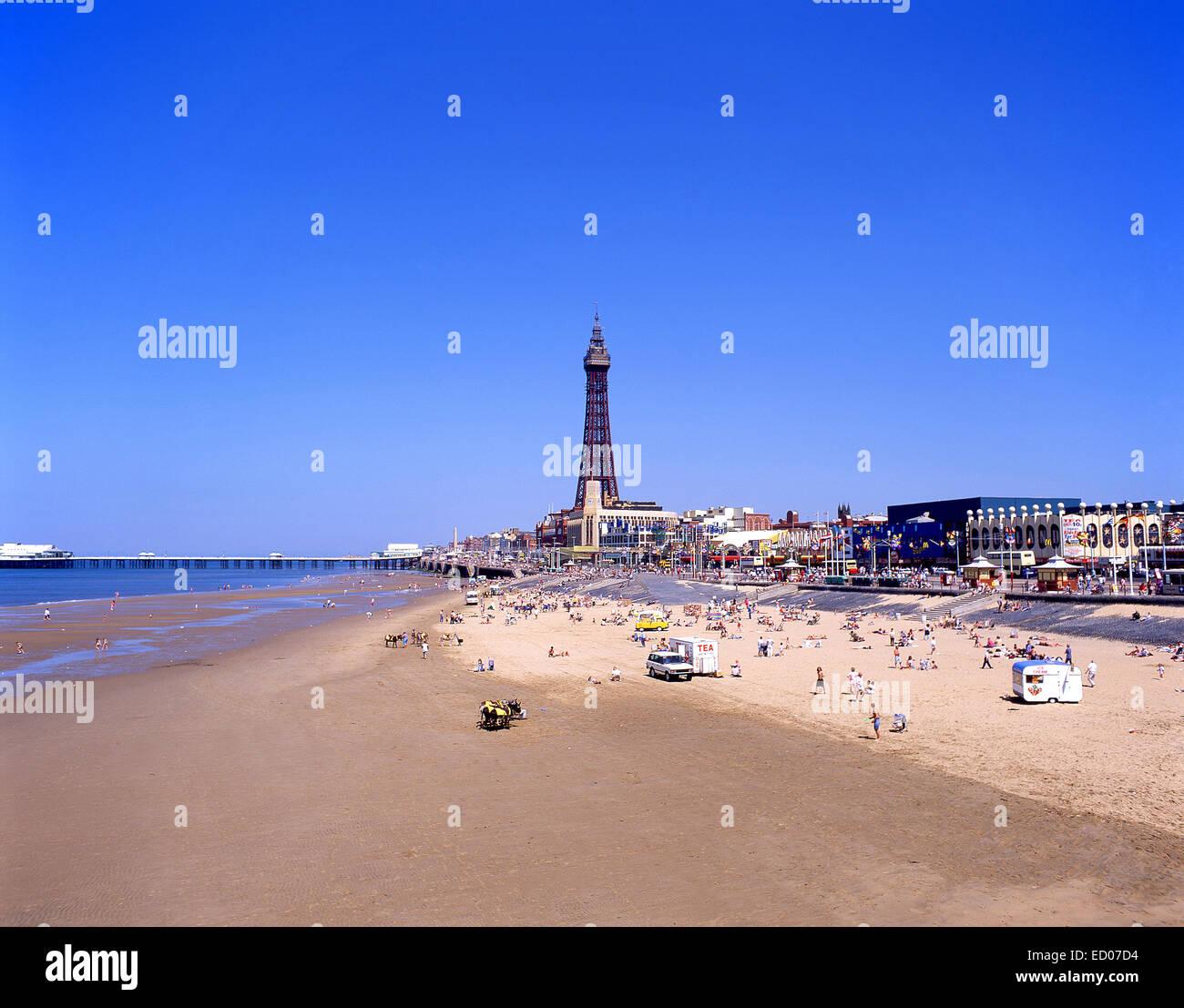 Blackpool Sands showing Blackpool Tower, Blackpool, Lancashire, England, United Kingdom - Stock Image