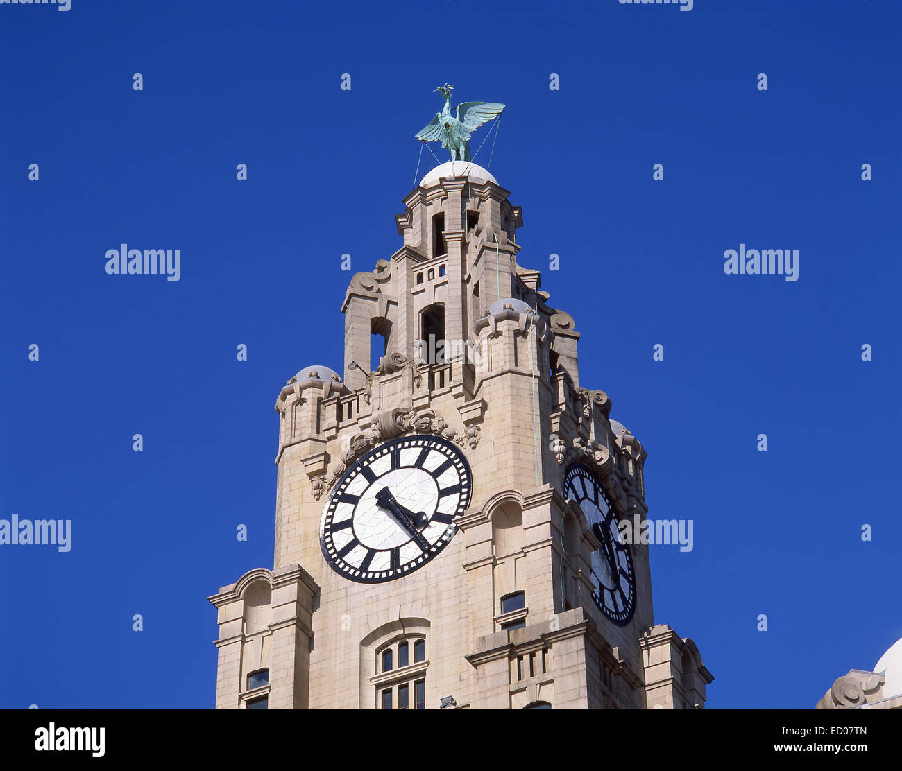 Royal Liver Building on Liverpool Pier Head, Liverpool, Merseyside, England, United Kingdom - Stock Image