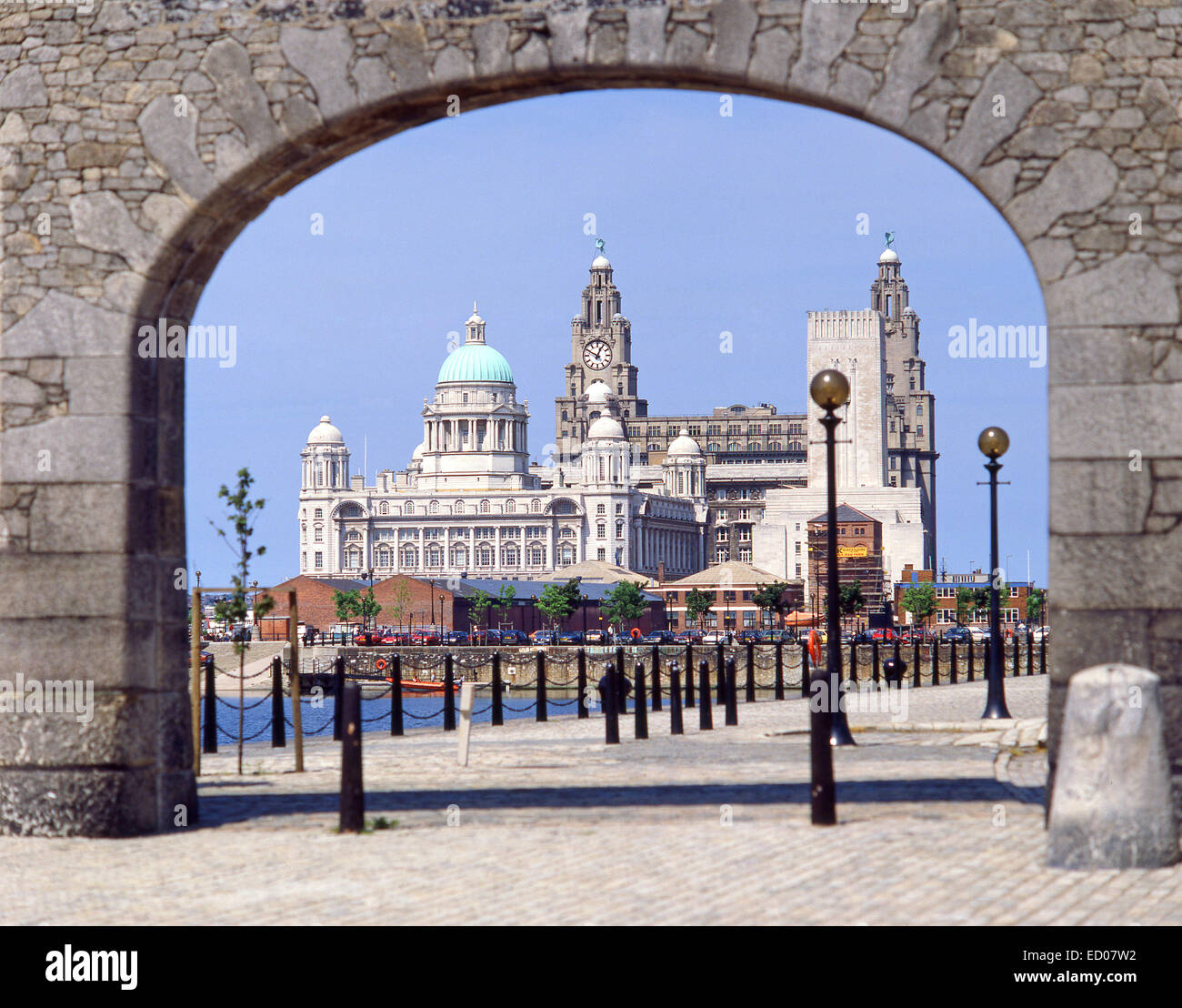Liverpool's Three Graces from Albert Docks, Liverpool, Merseyside, England, United Kingdom - Stock Image