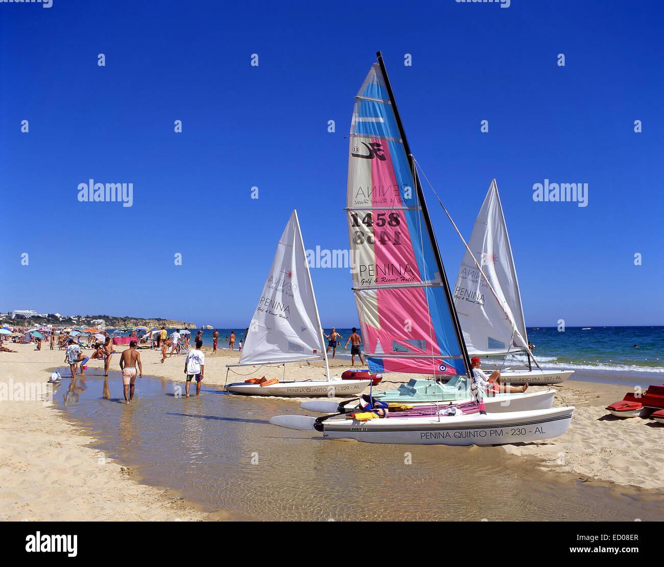 Beachscene, Praia da Rocha, Portimão, Portimão Municipality, Faro District, Algarve Region, Portugal - Stock Image