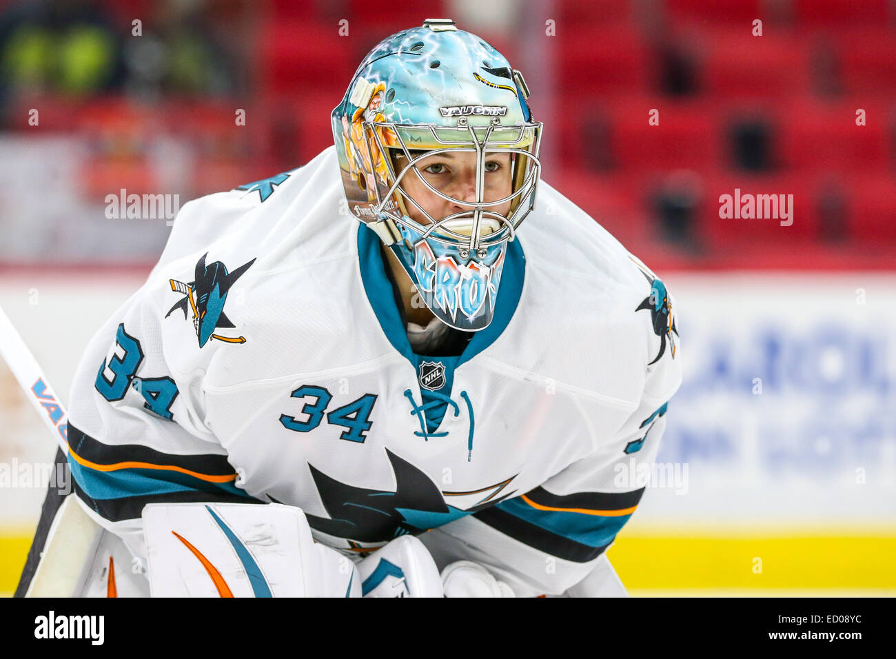 San Jose Sharks Goalie Troy Grosenick 34 During The Nhl Game Stock Photo Alamy