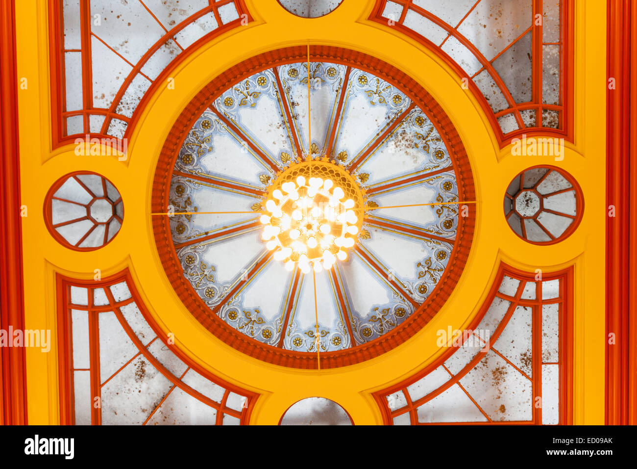 England, Yorkshire, Leeds, Leeds Town Hall, Ceiling of The Brodrick Suite - Stock Image