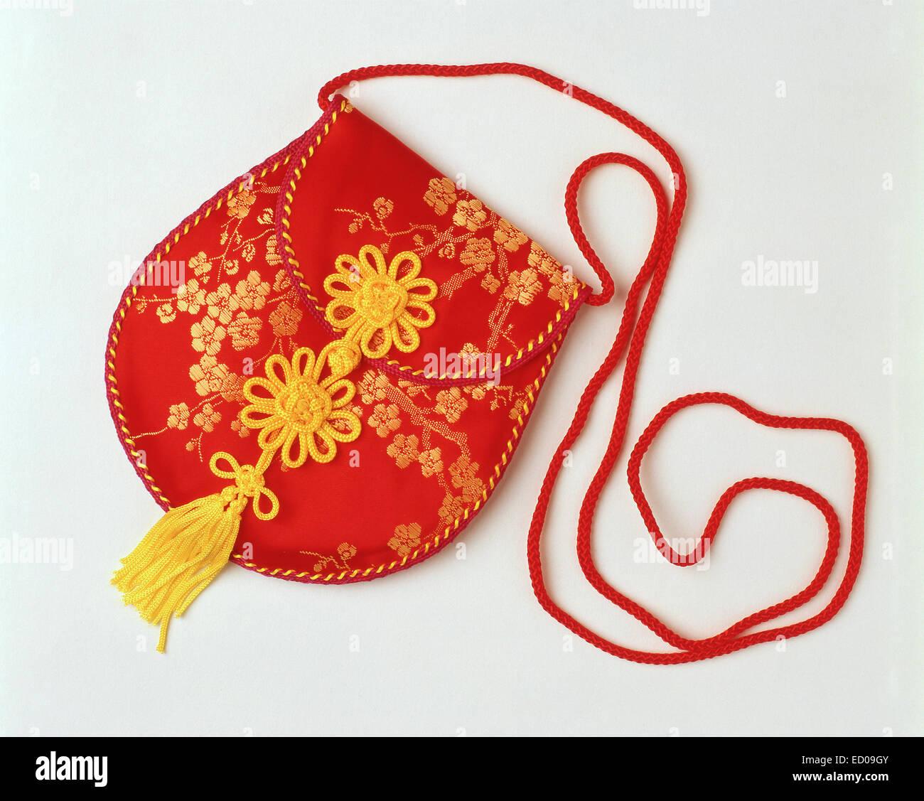 Chinese silk purse, Shanghai, People's Republic of China - Stock Image