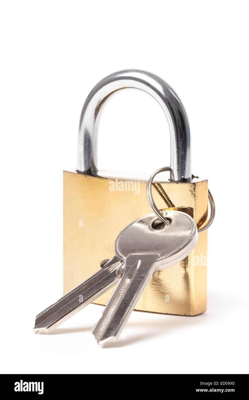 Locked padlock with keys isolated on white background. - Stock Image