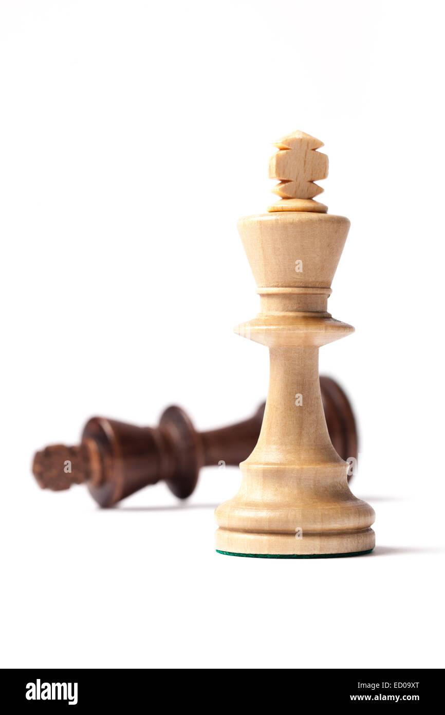 White king is winner against the black king  chess figures - Stock Image