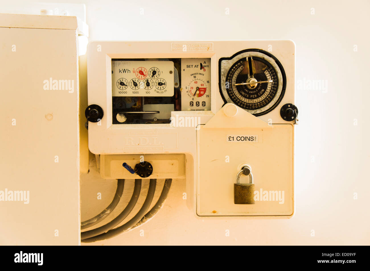 Electricity Coin Meter : Prepayment electricity meter stock photos