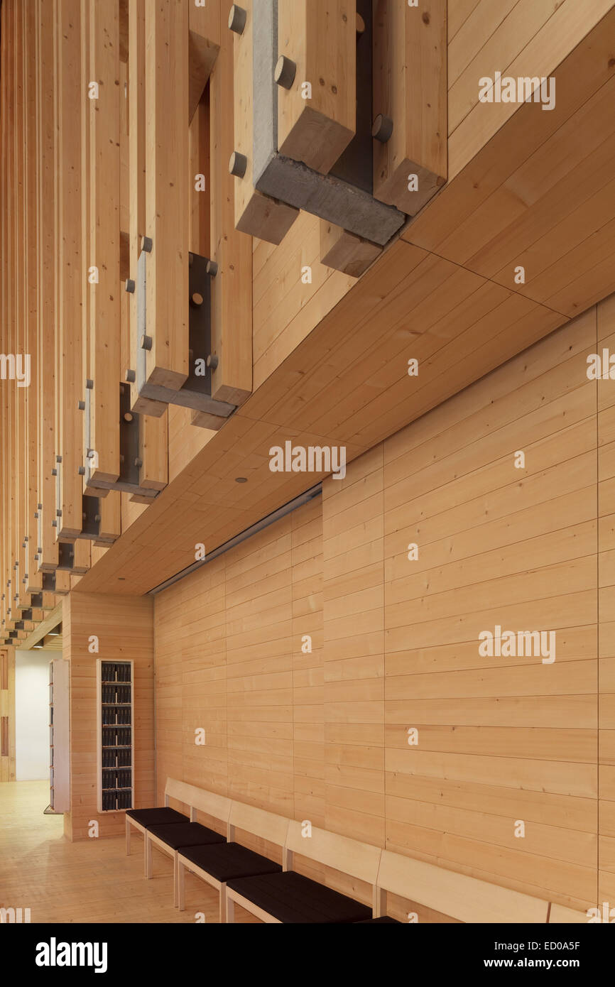 Viikki Church, Helsinki, Finland. Architect: JKMM Architects, 2005. Detail of timber elements at rear of nave. - Stock Image