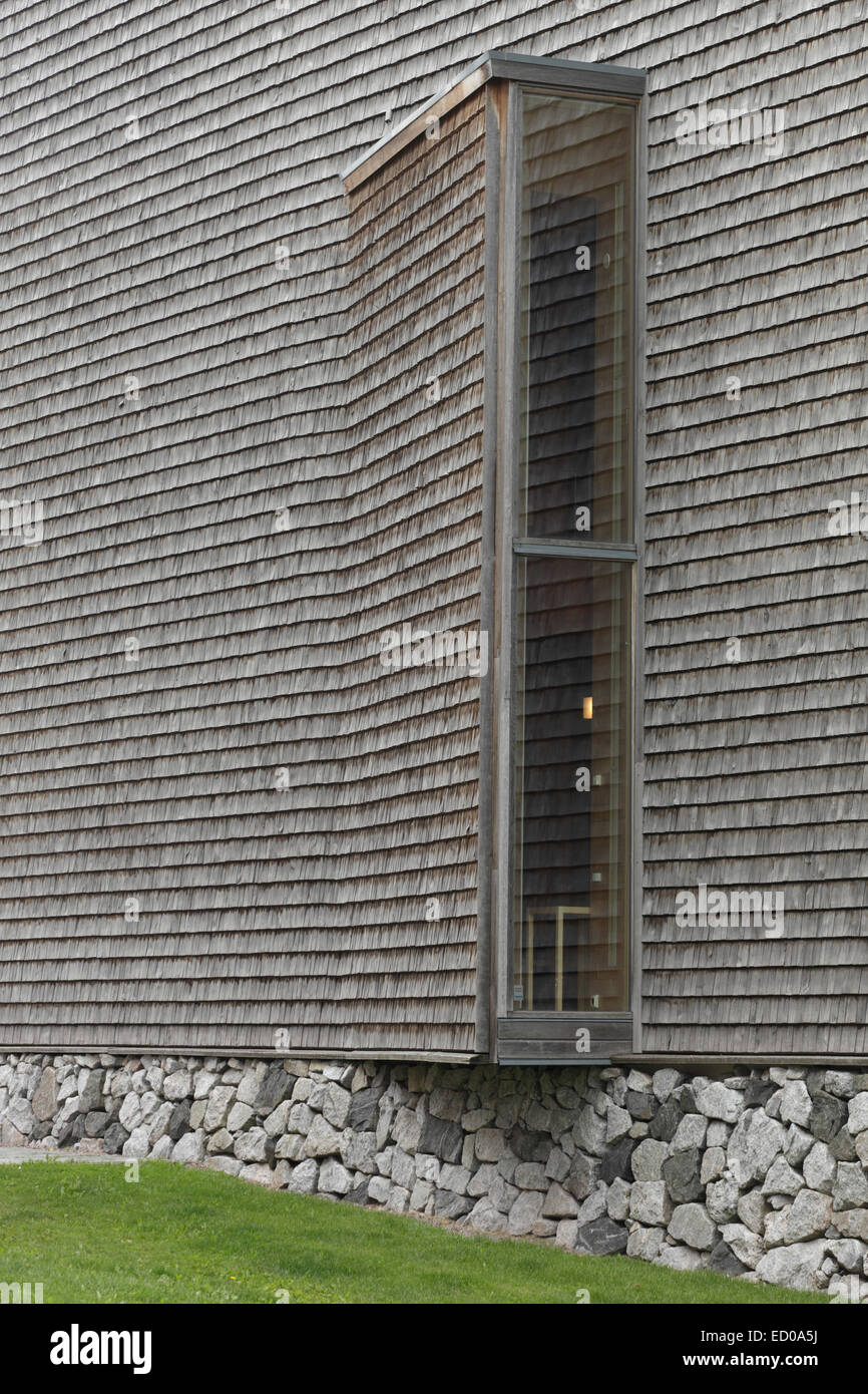 Viikki Church, Helsinki, Finland. Architect: JKMM Architects, 2005. Detail of exterior, with weathered aspen cladding. - Stock Image
